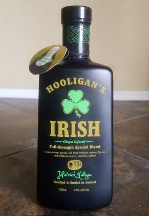 Hooligans Irish whiskey in a matte black bottle