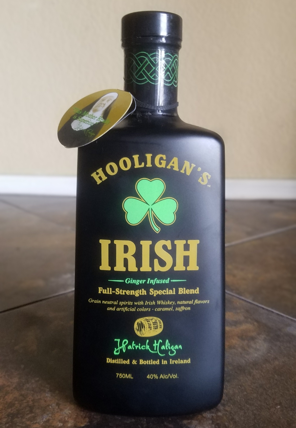 Hooligans Irish whiskey in a matte black bottle